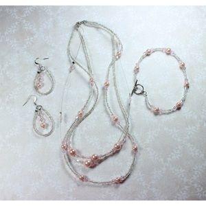 Jewelry - 💜🎀Pink Pearls Jewelry Set🎀💜